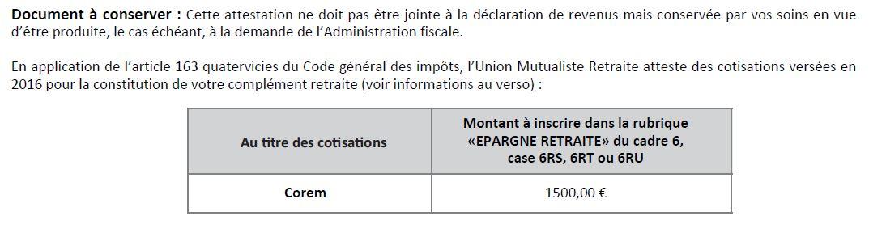 Corem d duction fiscale umr - Plafond de deduction au titre de l epargne retraite ...